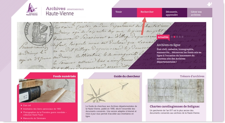 Archives départementales en ligne de la Haute Vienne Ad87-1