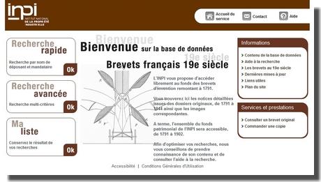 Les bases de données oubliées : les archives de l'INPI : Les brevets du 19 ème siècle  Inpi