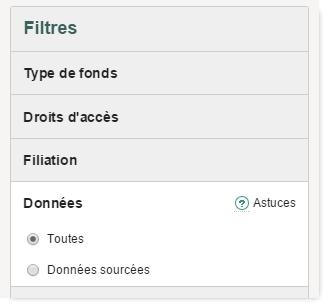 filtre données