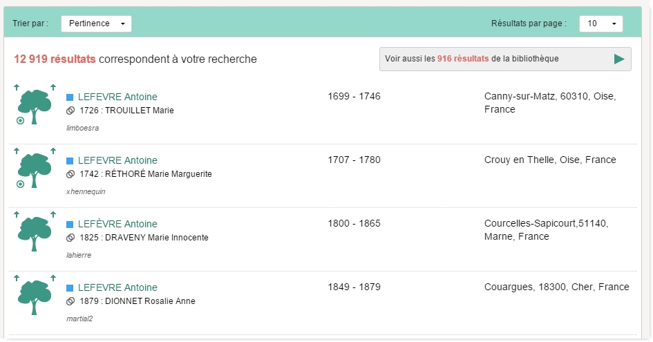page resultats