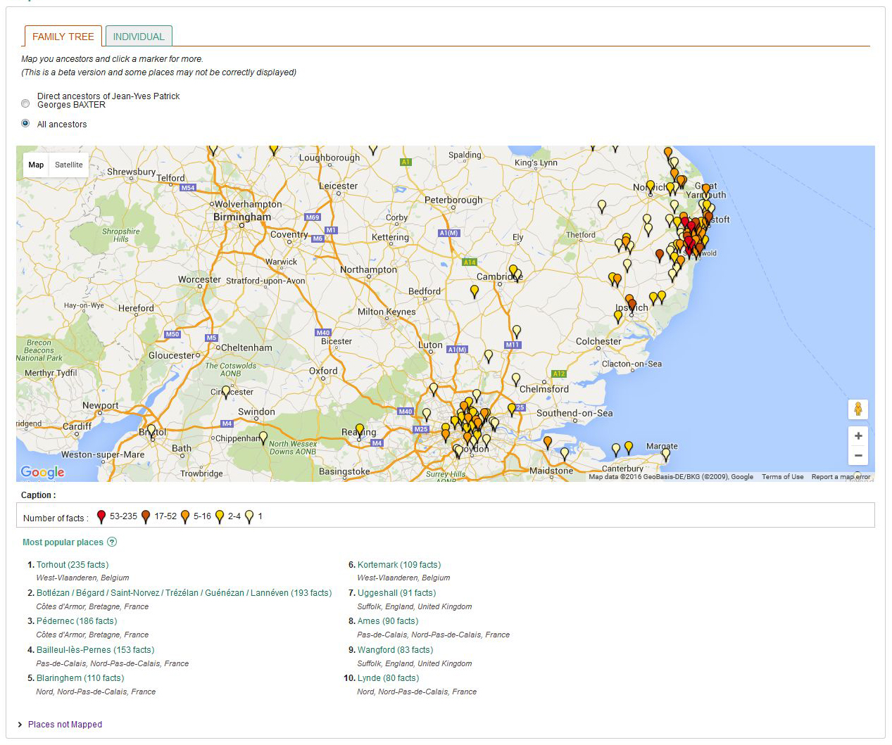 Map Your Ancestors on Geneanet Geneanet