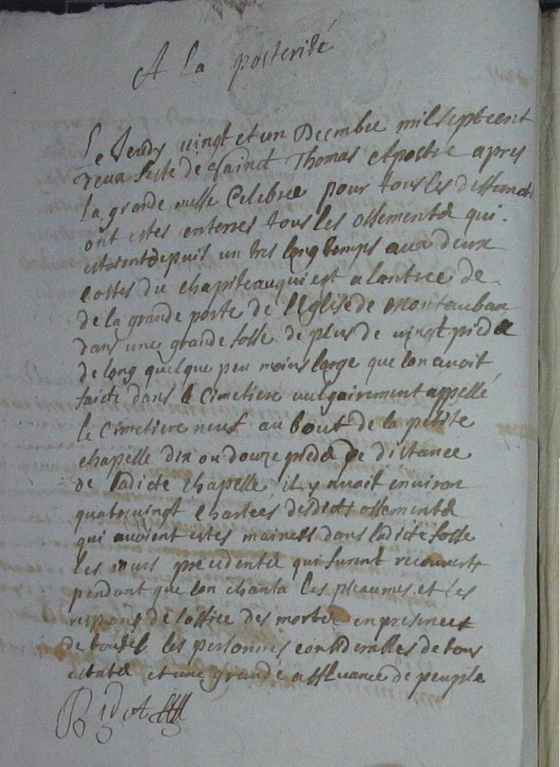 à la postérité 1700