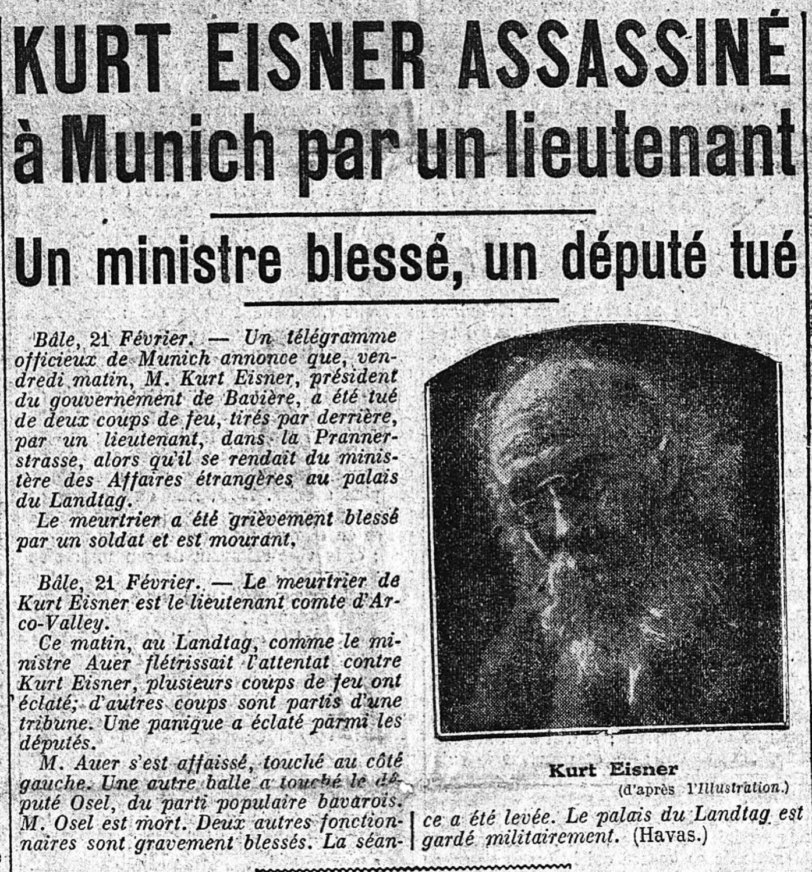 22 février 1919 : Kurt Eisner assassiné à Munich par un lieutenant