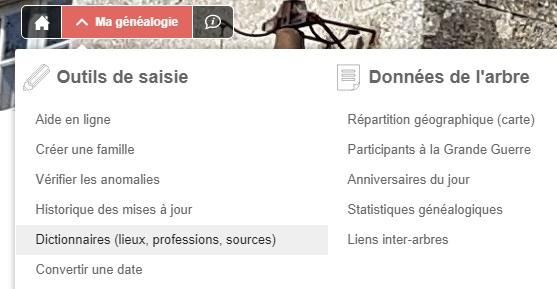 Dictionnaires (lieux, professions, sources)