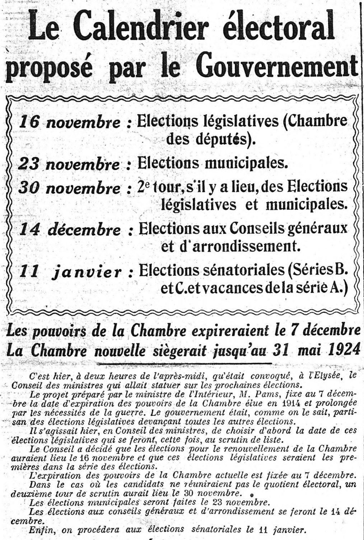Calendrier Electoral 2019.8 Octobre 1919 Le Calendrier Electoral Propose Par Le