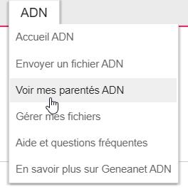 menu parentés ADN