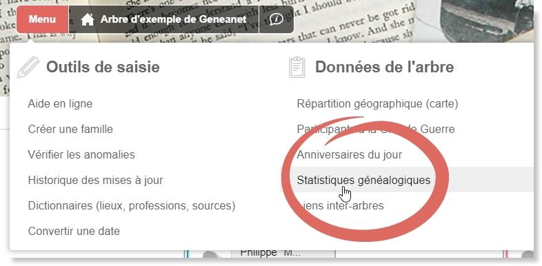 """Capture d'écran montrant la localisation des """"Statistiques généalogiques"""" dans le menu de l'arbre."""