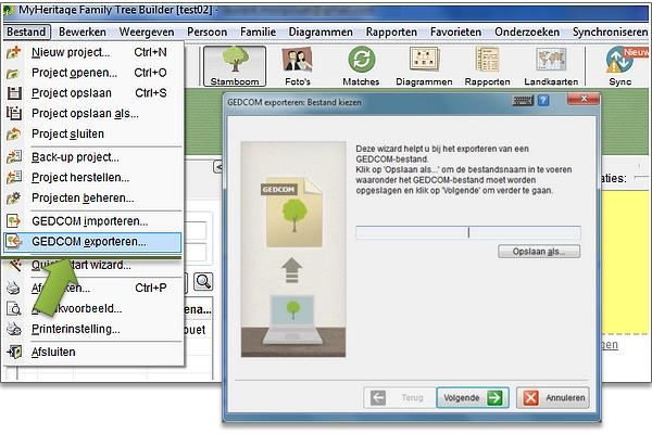 Hoe kunt u een GECOM file exporteren vanaf uw persoonlijke genealogie programma?