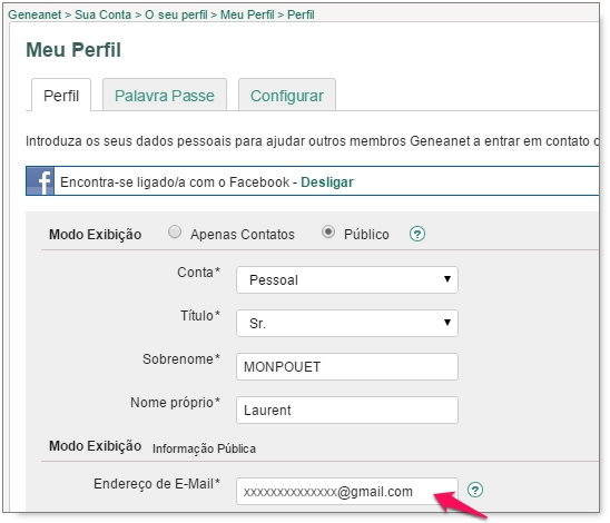 Como alterar o seu endereço de e-mail?