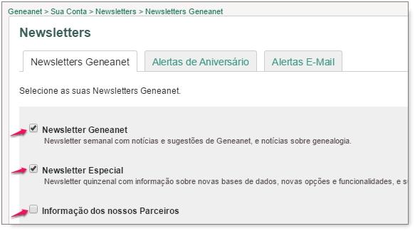 Como deixar de receber a newsletter Geneanet?